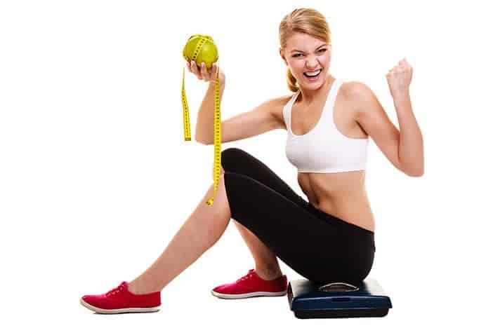 Mulher com uma dieta de sucesso