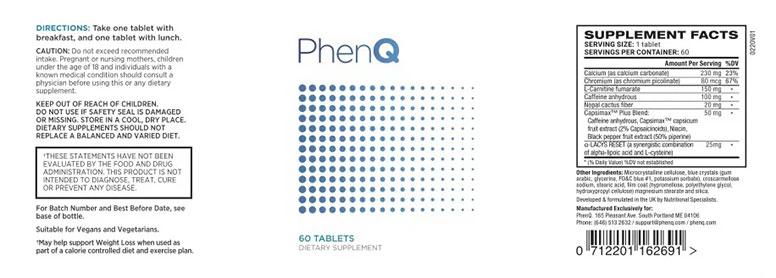 Rótulo do PhenQ